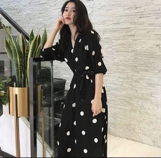 Polka Dot Dress chiffon long v line dress