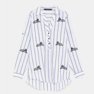 ZARA Striped Shirt with Embroidery