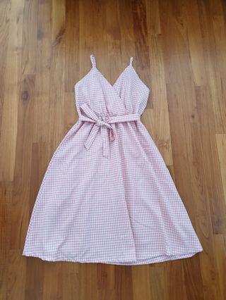 Pink Checkered V Picnic dress