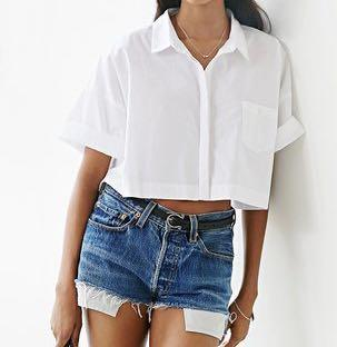 🚚 White Button Down Crop