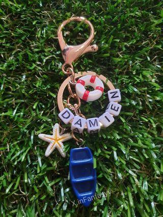 Beach theme keychain with customised name