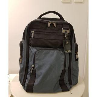 Tumi (original) leather & canvas knapsack style briefcase