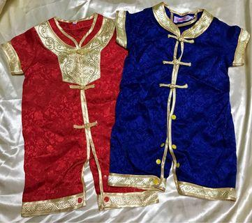 🚚 Chinese New Year red & blue rompers set
