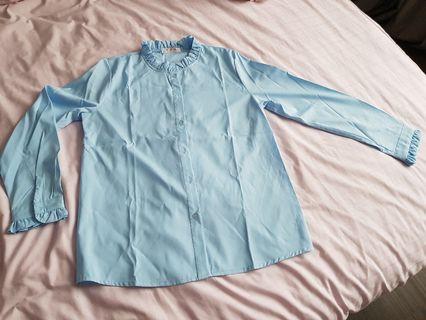 Baby blue long sleeve blouse