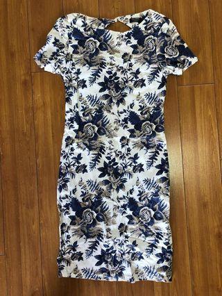 ZALORA White and Blue Floral Dress