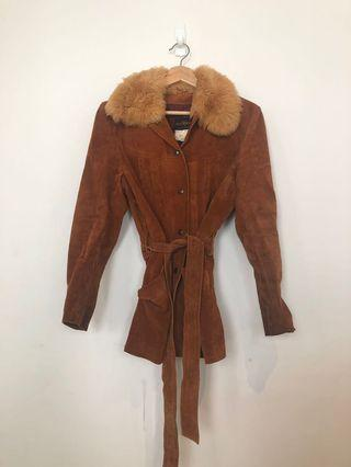 1970s real suede belted jacket with fox fur collar S 10