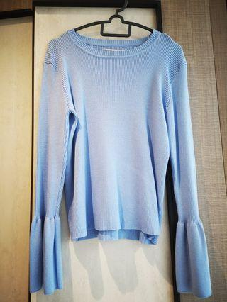 Padini blue knitted flare sleeves top