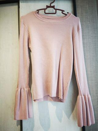 Padini Pink Knitted Flare Sleeves top