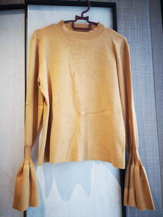 Mustard yellow knitted flare sleeves top