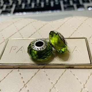 PANDORA Olive faceted murano
