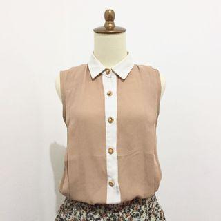 Brown Top tank top inner blazer