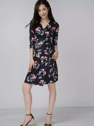 Black floral pattern dress
