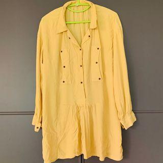 韓國貨蛋黃色連身裙淡黃色 Korean pastel yellow one piece dress