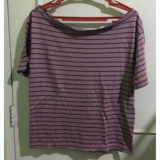 Uniqlo Red Striped Boatneck Blouse