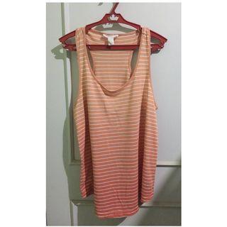 Forever21 Orange Striped Sleeveless Blouse