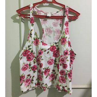 Forever21 Floral Red and White Crop Top