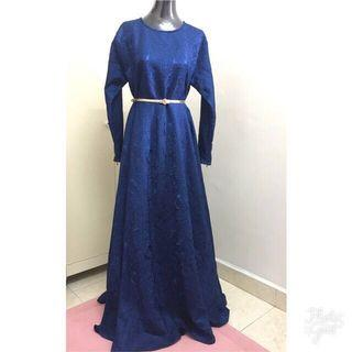 New Osah Kolok Couture Long Dress Royal Blue  Size XL