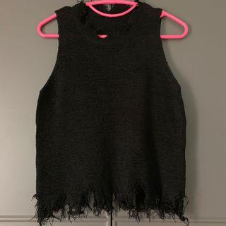 包郵春夏麻針織爛邊背心 著得人好瘦 black summer knitted vest