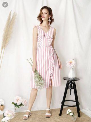 🚚 Recluse Ruffle Front Striped Dress (Pink)