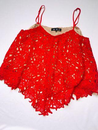 MDS LACE RED TOP size s fit to m