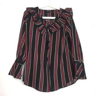 Stripe Blouse Black Red Dark Grey Korean Look Style Kpop Casual Workwear Tshirt Shirt Woman Long Sleeves Ruffle Top
