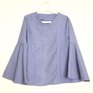 Blouse Saloma Flare Top Flare Sleeves Baju Kembang Modern Casual Workweal Checkered Shirt Blouse Dress