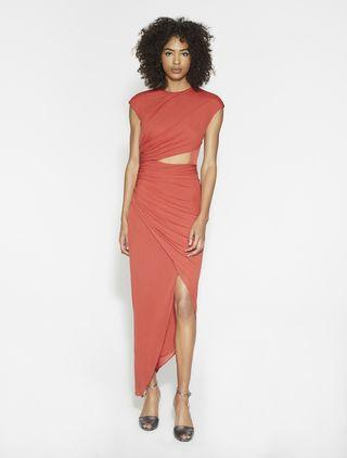 Halston Heritage ruched hi low dress in chilli 連身裙