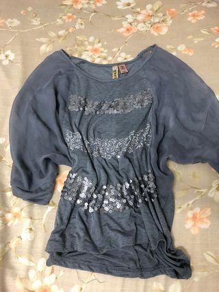 🚚 灰色雪紡亮片五分袖上衣