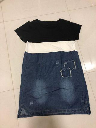 Denim block Dress