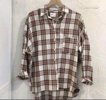 🚚 棉麻格紋襯衫