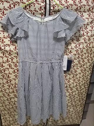 全新包郵日本LD Prime 雪紡飛飛袖 藍白條紋連衣裙