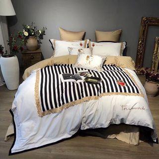 🚚 標準雙人5*6.2刺繡雙股純棉貢緞床包四件組