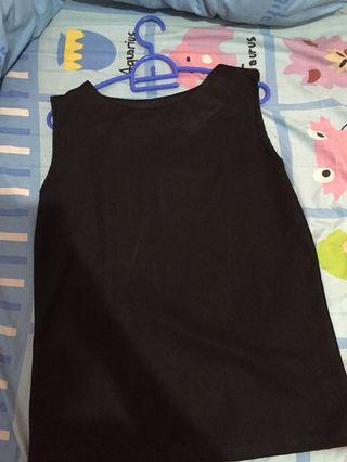 (free ongkir) black blouse tank top