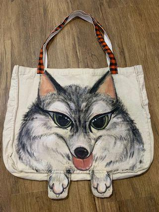 Handpainted Cute Doggie Tote Bag