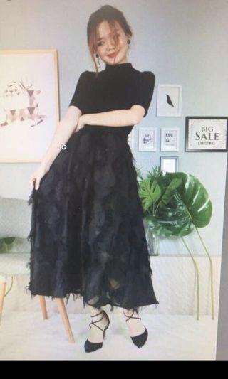 Dinner black dress (swan pattern) elegant