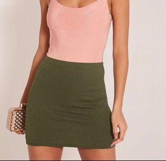 Pretty little thing khaki ribbed mini skirt