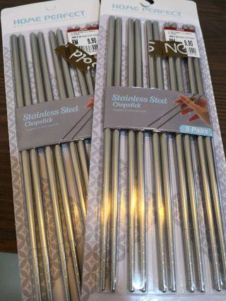 10 Pairs Brand New Stainless Steel Chopsticks