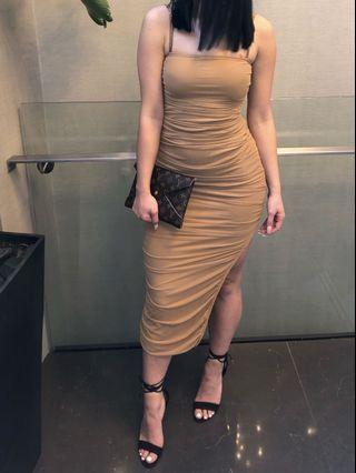 Fashion Nova Ruched Nude Dress