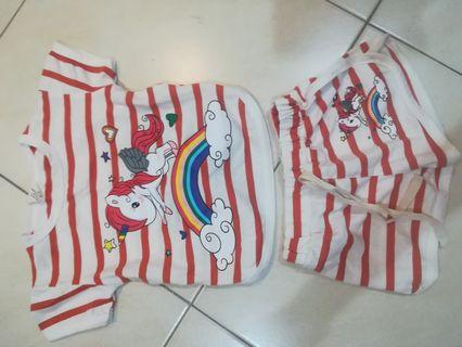 Unicorn rainbow two piece in brick red color (suitable for kids height about 80cm)