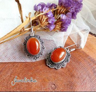 Lovely Carnelian Earrings. Length 4.5 cm. Set in 925 Sterling Silver.