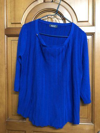 wanko藍色針織上衣 外套冷衫襯衫