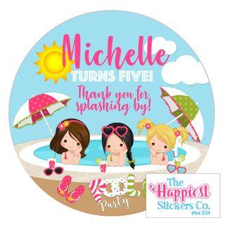 Pool Swimming Beach Party theme birthday party sticker label for goodie bag gift favor baby full month 100 baby shower customised