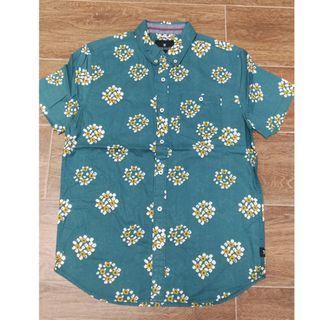 【全新】男裝藍色全棉印花圖案短袖恤衫