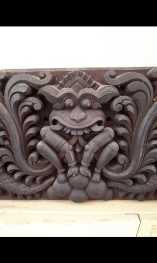 Antique temple wood carving panel