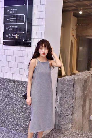 PO: Grey Slit Midi Dress
