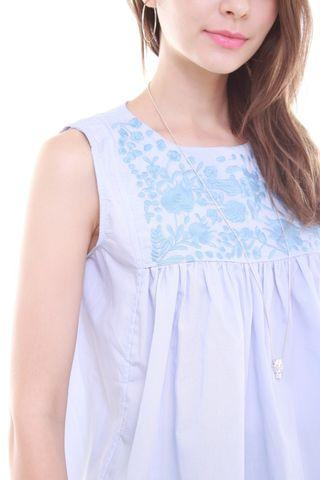 🚚 Stitched Embroidery Babydoll Top in Powder Blue