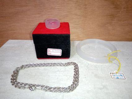 天然白玉髓手鐲+白玉髓戒指+鋼鍊3件一起賣不單賣