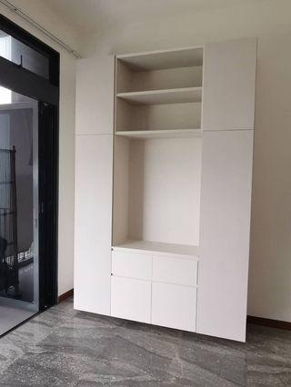 Tv console with shelving