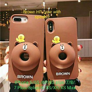 Line Brown HP case with speaker for iphone