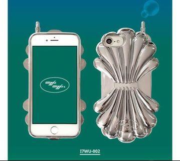wiggle wiggle 韓國炫彩金屬貝殼 全包軟殼保護殼手機套軟殼硬殼 iPhone 6s/7/8 4.7吋手機殼銀